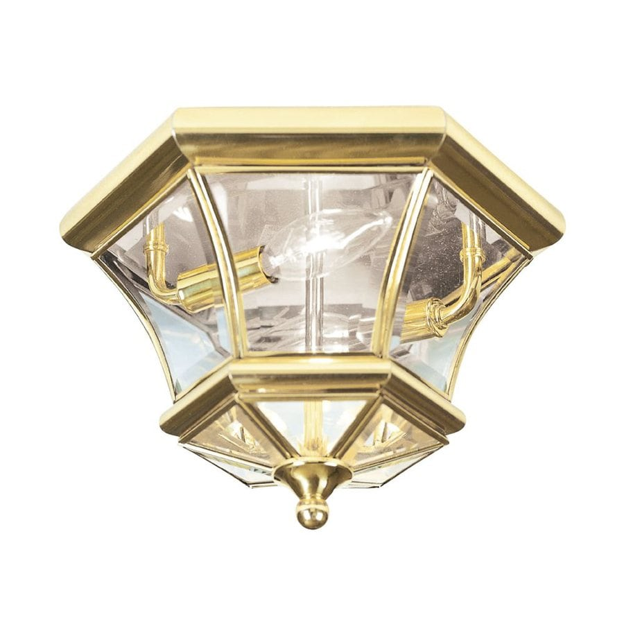 Livex Lighting Monterey 10.5-in W Polished Brass Outdoor Flush-Mount Light