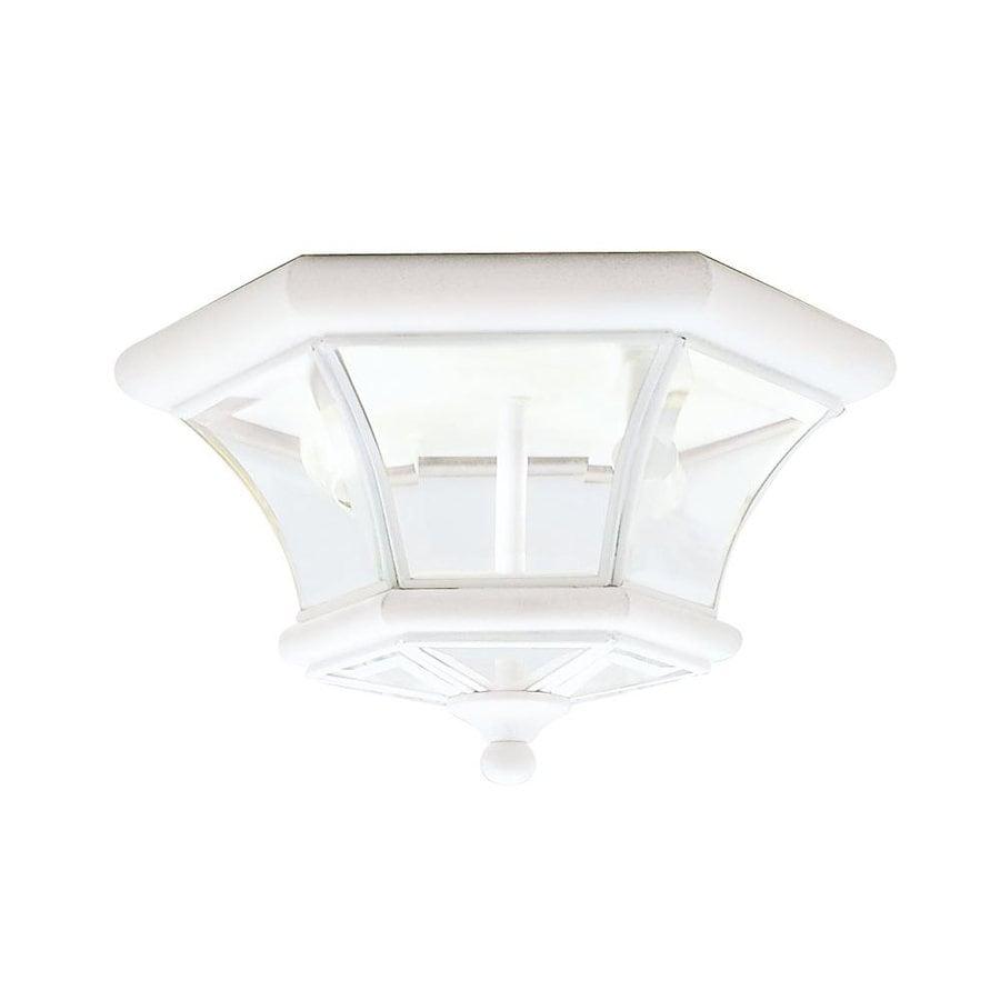 Livex Lighting Monterey 10.5-in W White Outdoor Flush-Mount Light