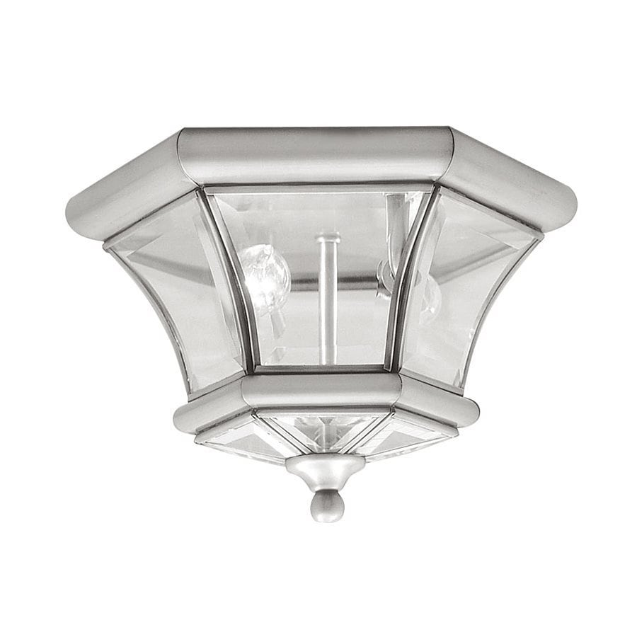 Livex Lighting Monterey 10.5-in W Brushed Nickel Outdoor Flush-Mount Light
