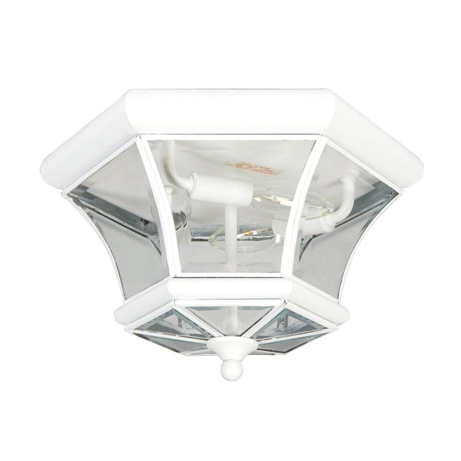 Livex Lighting Monterey 12.5-in W White Outdoor Flush Mount Light