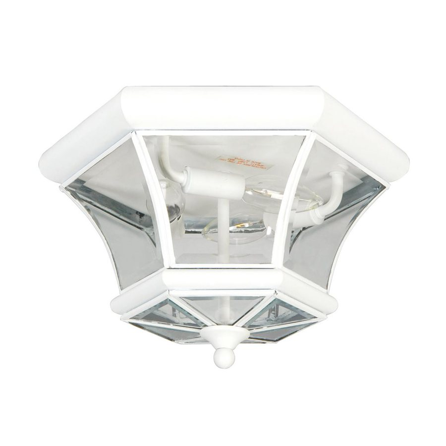 Livex Lighting Monterey 12.5-in W White Outdoor Flush-Mount Light