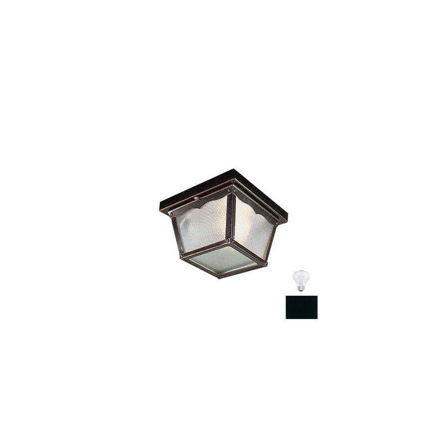 Livex Lighting 7-in W Black Outdoor Flush Mount Light