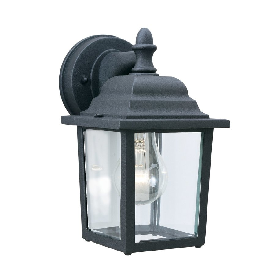 Shop thomas lighting hawthorne 10 in h matte black medium for Outdoor porch light fixtures