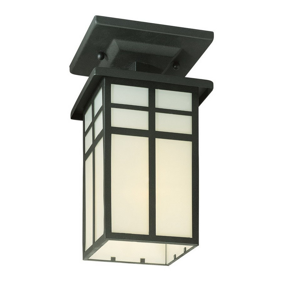 Thomas Lighting Mission 5.5-in W Black Outdoor Flush-Mount Light