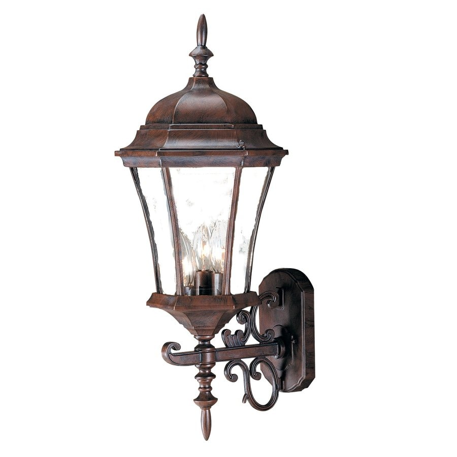 Exterior Wall Lights Lowes : Shop Acclaim Lighting Brynmawr 24-in H Burled Walnut Outdoor Wall Light at Lowes.com