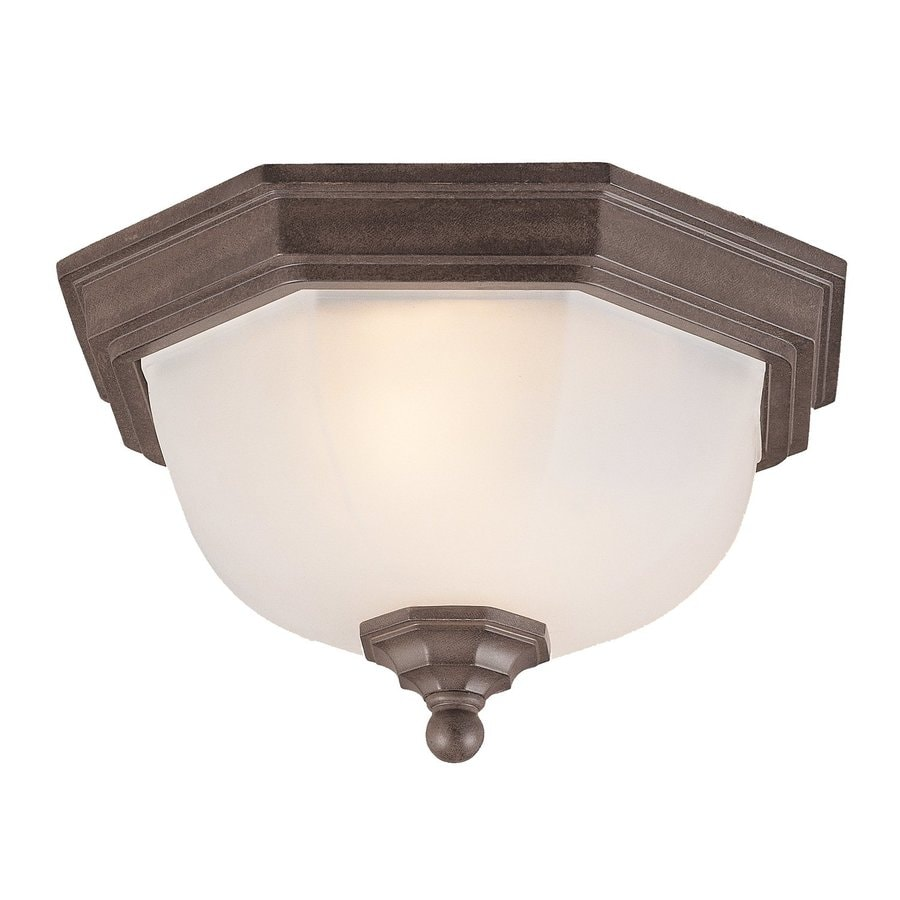 Acclaim Lighting 11.5-in W Burled Walnut Outdoor Flush-Mount Light