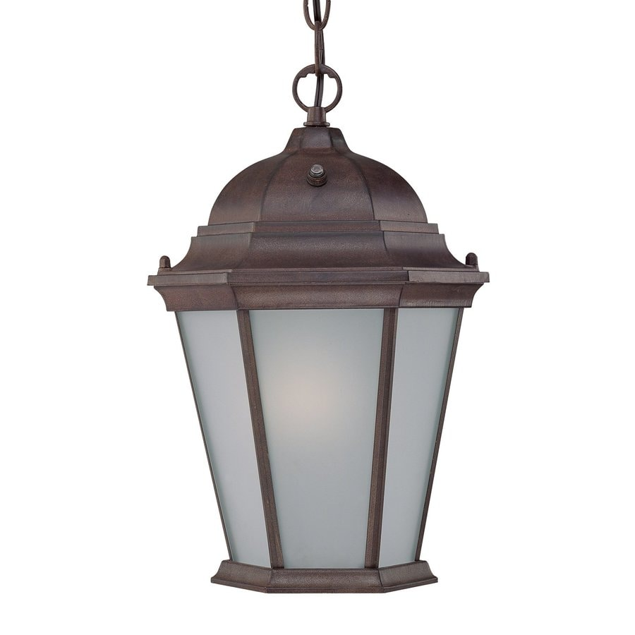 Acclaim Lighting Richmond 14-in Burled Walnut Solar Hardwired Outdoor Pendant Light ENERGY STAR