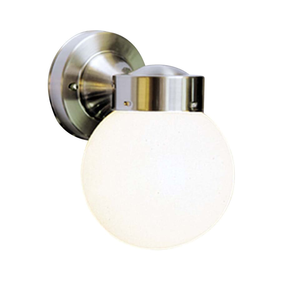 Volume International Globe 8.5-in H Brushed Nickel Outdoor Wall Light