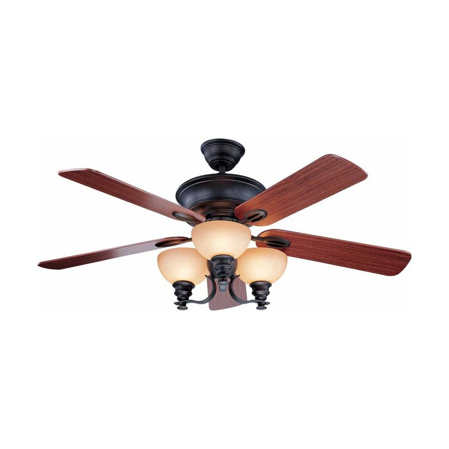 Volume International Rainier 52-in Foundry Bronze Downrod Mount Indoor Residential Ceiling Fan with Light Kit and Remote Control Included (5-Blade)