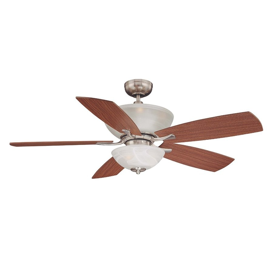 Volume International 52-in Brushed Nickel Downrod Mount Indoor Residential Ceiling Fan with Light Kit and Remote Control Included (5-Blade)