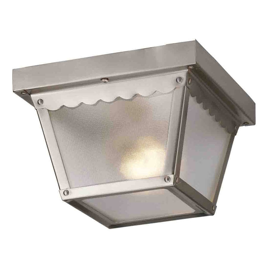 Volume International 7.5-in W Brushed Nickel Outdoor Flush-Mount Light