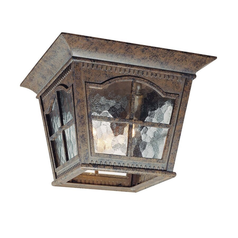 Volume International Leeds 11-in W Amulet Bronze Outdoor Flush-Mount Light