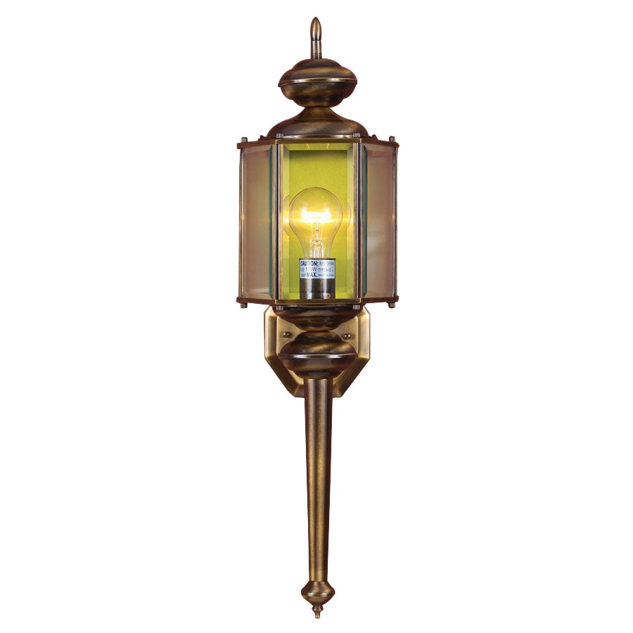 Volume International 26.75-in H Antique Solid Brass Outdoor Wall Light