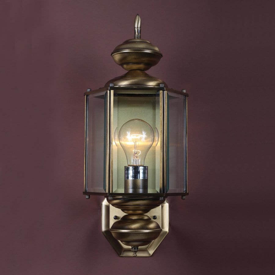 Black Up And Down Led Wall Lights : Shop Volume International 17.5-in H Antique-Solid Brass Outdoor Wall Light at Lowes.com