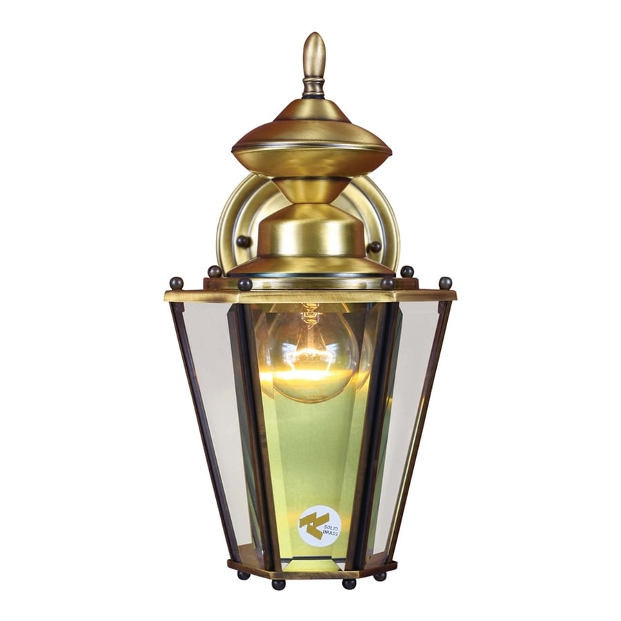 Shop Volume International 13.5-in H Antique Solid Brass Outdoor Wall Light at Lowes.com