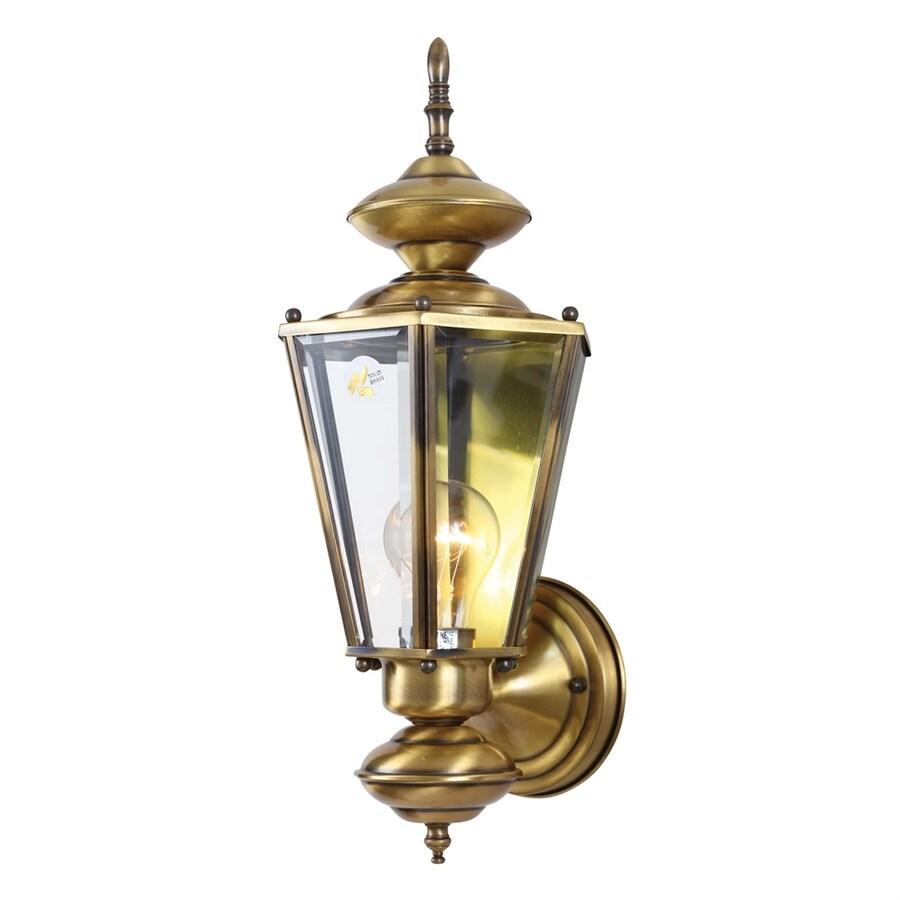 Volume International 17-in H Antique-Solid Brass Outdoor Wall Light