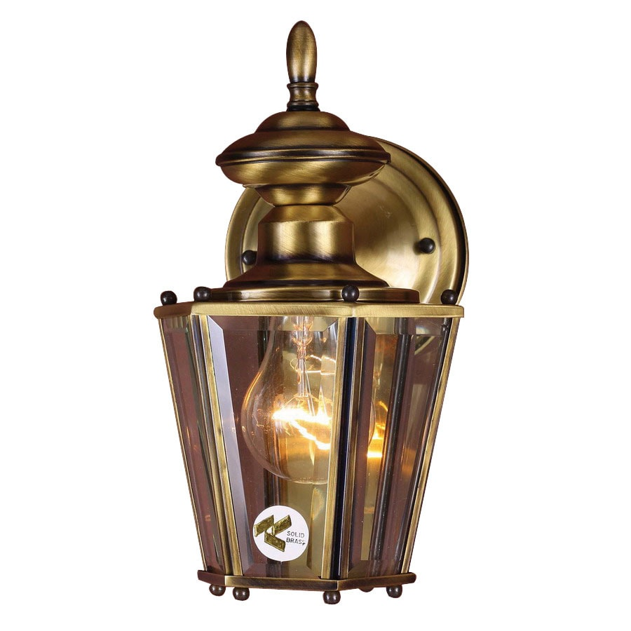 Volume International 10-in H Antique Solid Brass Outdoor Wall Light