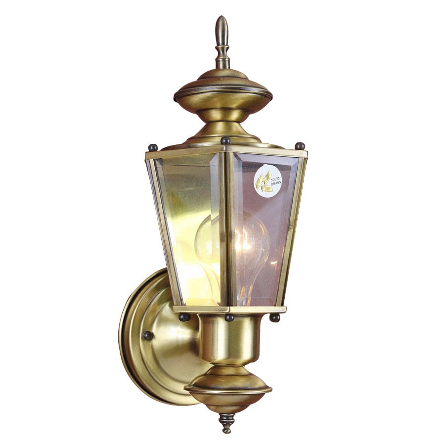 Volume International 12.75-in H Antique-Solid Brass Outdoor Wall Light