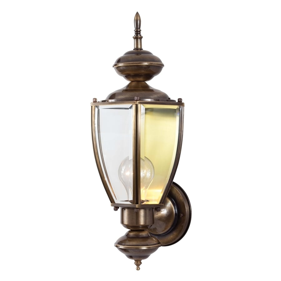 Black Up And Down Led Wall Lights : Shop Volume International 6.5-in H Antique Solid Brass Outdoor Wall Light at Lowes.com