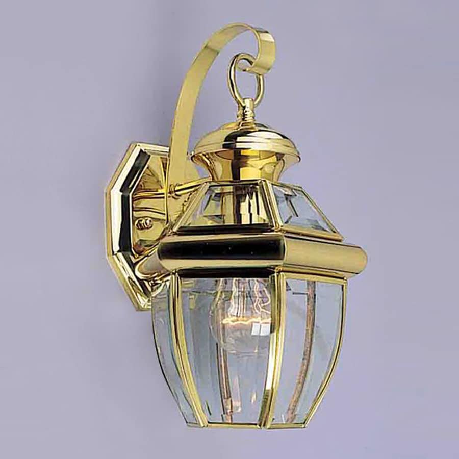 Volume International 13-in H Polished Solid Brass Outdoor Wall Light