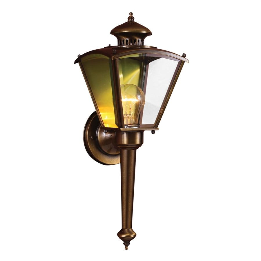Volume International 18.34-in H Antique-Solid Brass Outdoor Wall Light