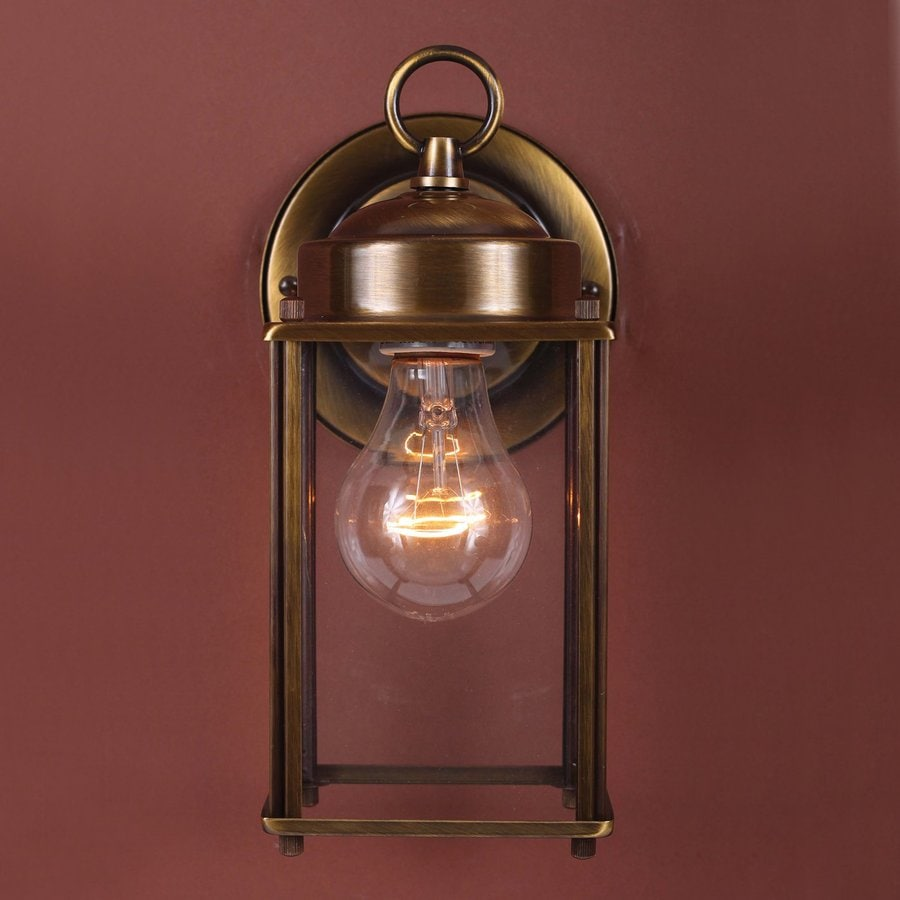 Volume International 9.5-in H Antique-Solid Brass Outdoor Wall Light