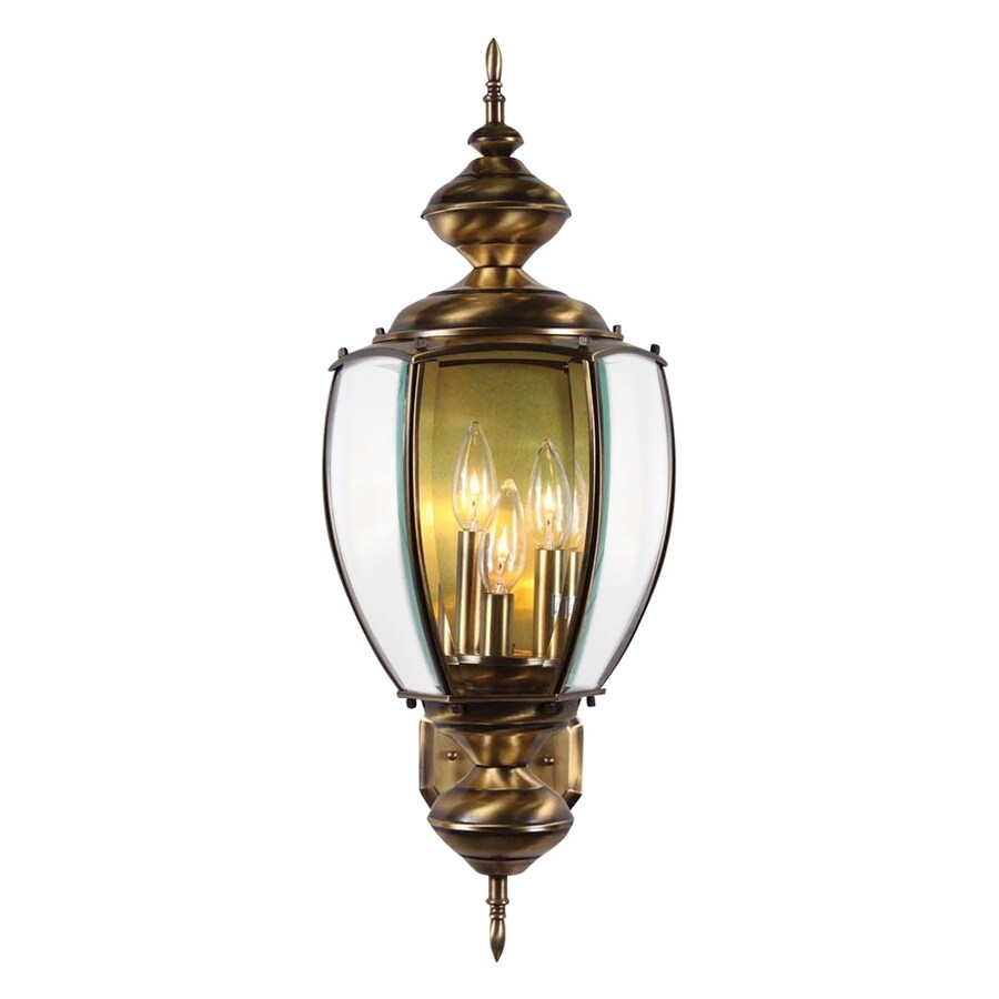 Volume International 26-in H Antique-Solid Brass Outdoor Wall Light