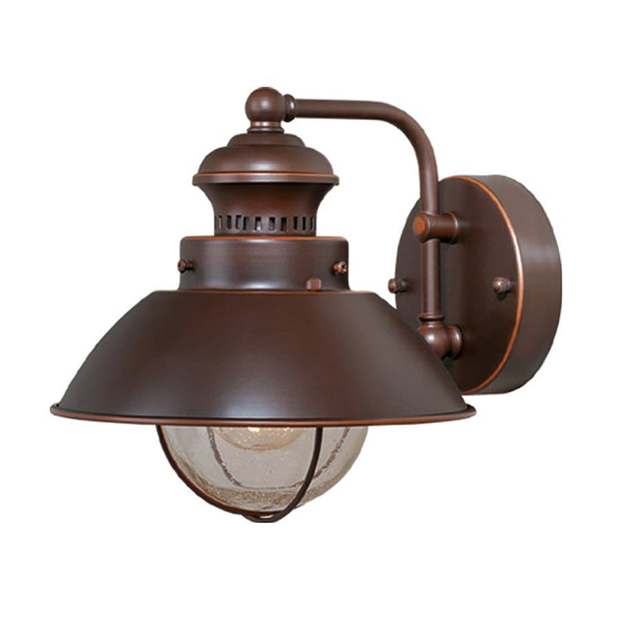 lighting nautical 8 in h burnished bronze outdoor wall light at lowes. Black Bedroom Furniture Sets. Home Design Ideas