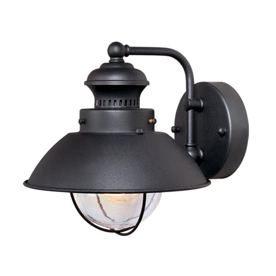 Black Exterior Wall Sconces : Shop Cascadia Lighting Nautical 8-in H Textured Black Outdoor Wall Light at Lowes.com