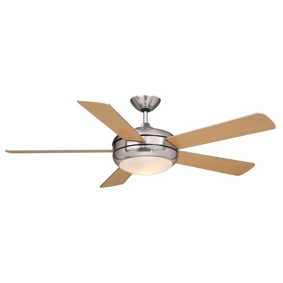 Cascadia Lighting Rialta 52-in Satin Nickel Downrod Mount Ceiling Fan with Remote Control with Light Kit (5-Blade)
