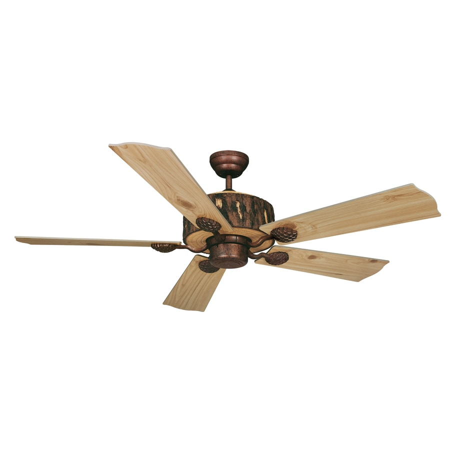 Cascadia Lighting Log Cabin 52-in Weathered Patina Downrod Mount Indoor Ceiling Fan (5-Blade)