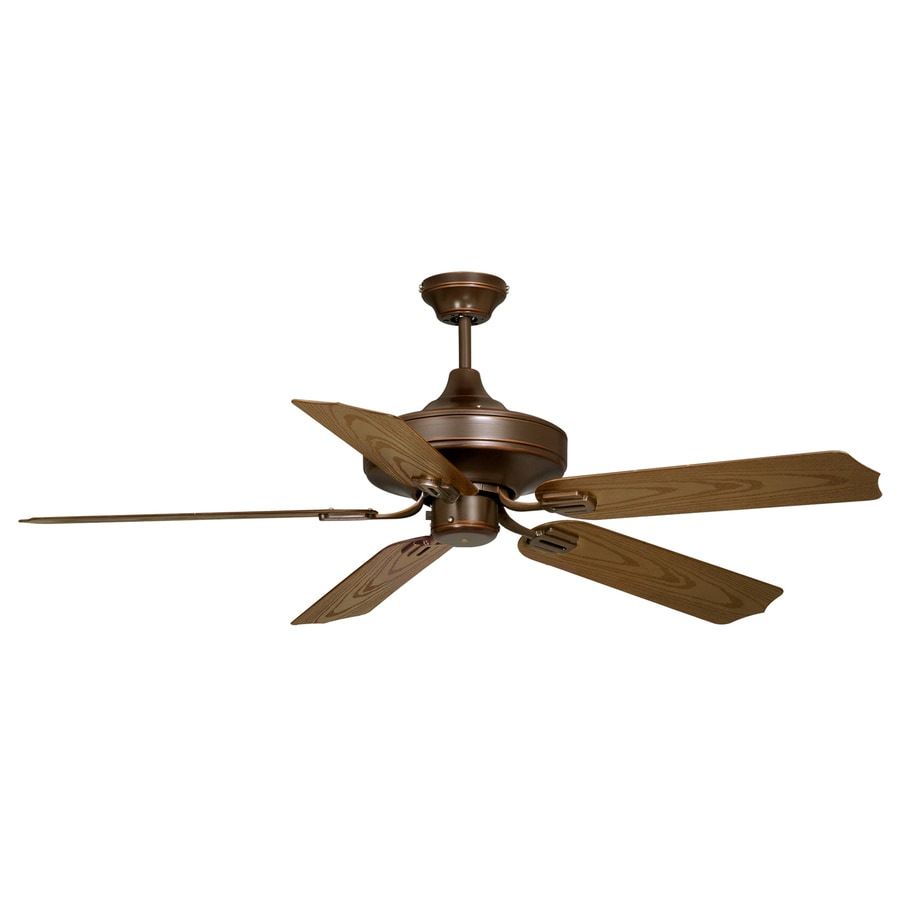 Cascadia Lighting Protico 52-in Burnished Bronze Downrod Mount Indoor/Outdoor Ceiling Fan (5-Blade)