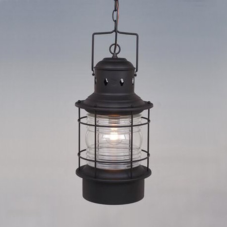 High Quality Cascadia Lighting Nautical 22 In Textured Black Hardwired Outdoor Pendant  Light