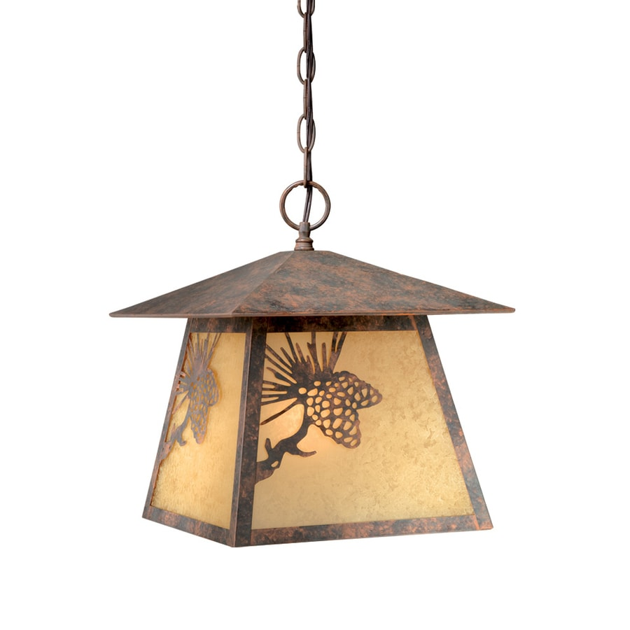 Cascadia Lighting Whitebark 13-in Olde World Patina Hardwired Outdoor Pendant Light