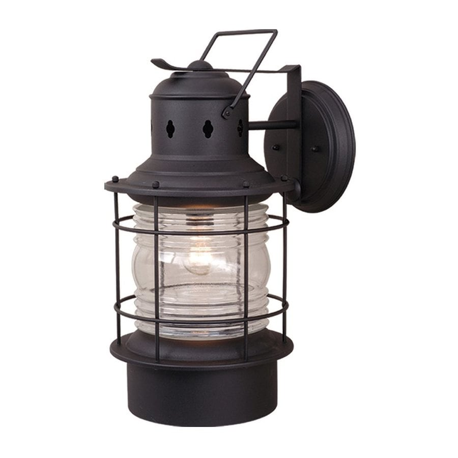 Shop Cascadia Lighting Nautical 21 5 In H Textured Black Outdoor Wall Light A