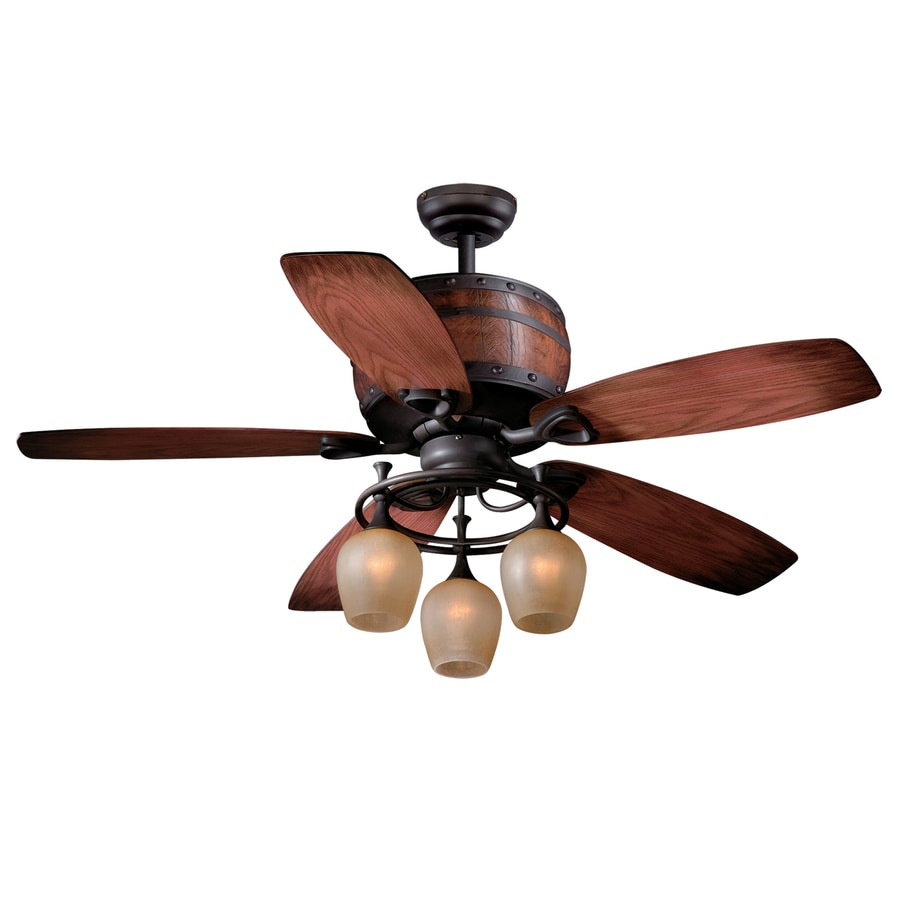 Cascadia Lighting Cabernet 52-in Oil Burnished Bronze Downrod Mount Indoor Ceiling Fan with Light Kit and Remote (5-Blade)