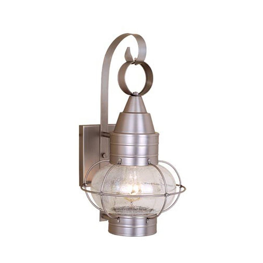 lighting onion nautical 18 in h brushed nickel outdoor wall light at. Black Bedroom Furniture Sets. Home Design Ideas