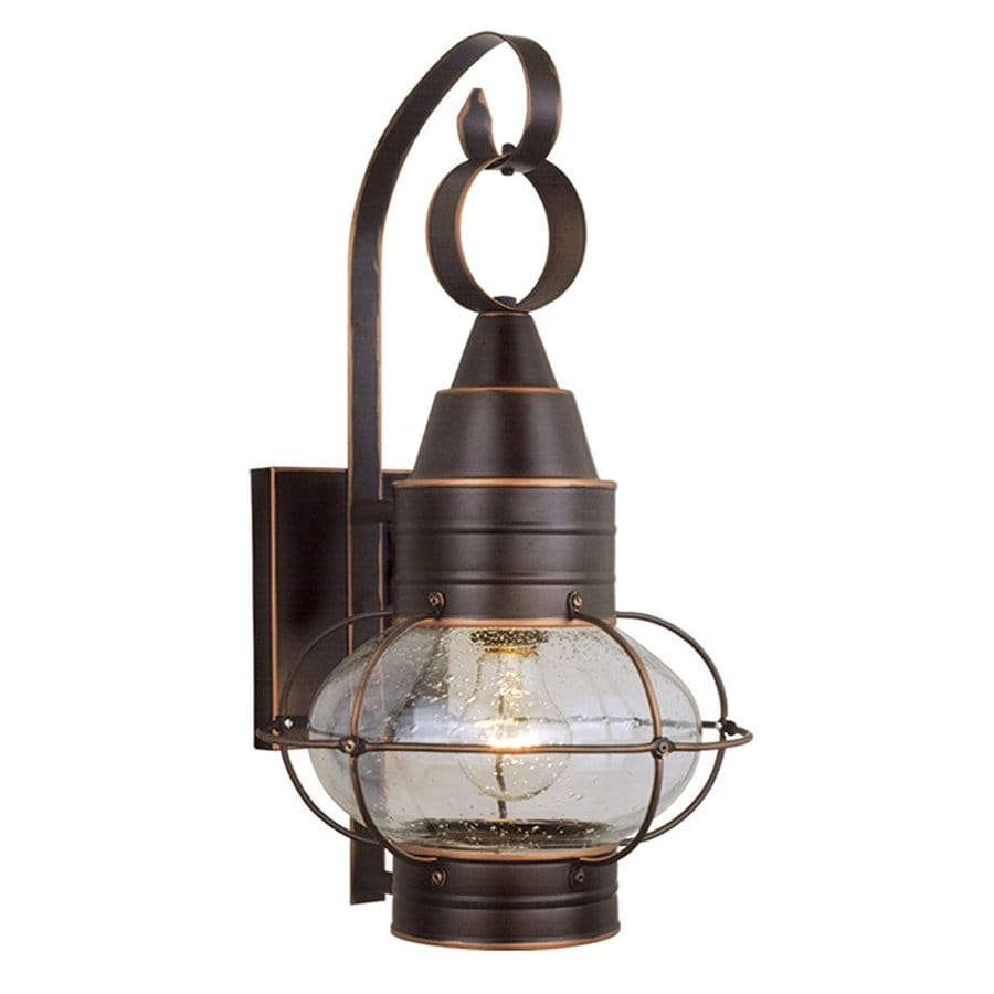 Wall Lamps At Lowes : Shop Cascadia Lighting Onion Nautical 18-in H Burnished Bronze Outdoor Wall Light at Lowes.com