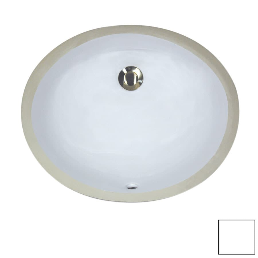 Nantucket White Undermount Oval Bathroom Sink with Overflow
