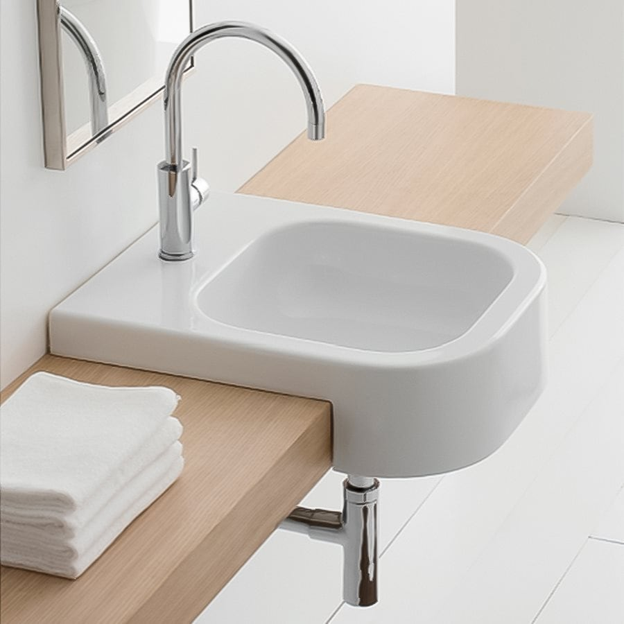 Shop Nameeks Scarabeo White Drop In Rectangular Bathroom Sink At
