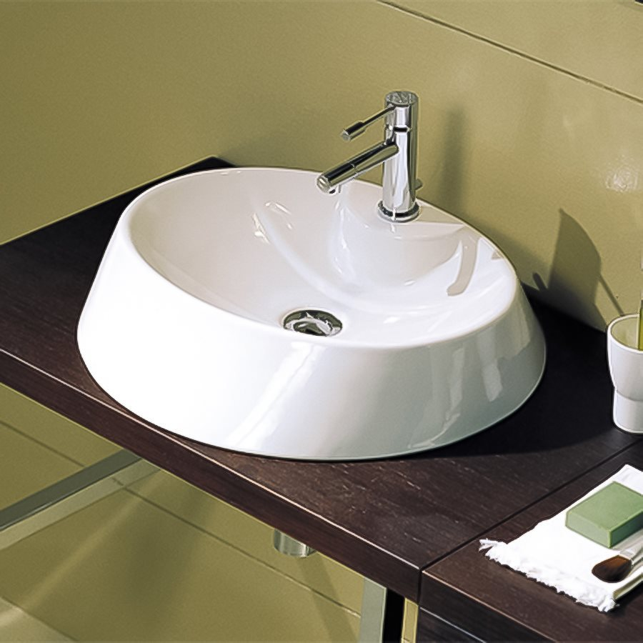 Nameeks Scarabeo White Vessel Oval Bathroom Sink