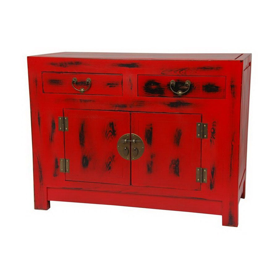 Oriental Furniture Carved Furniture Distressed Red Lacquer 1 Shelf Storage  Cabinet