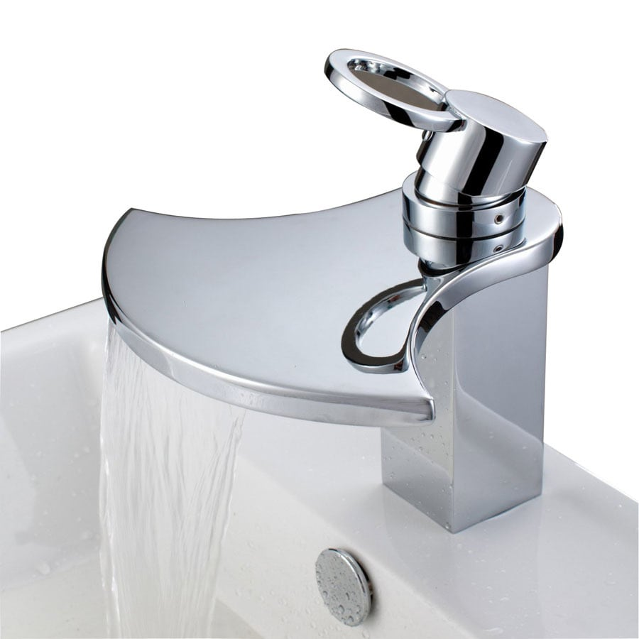 Shop Sumerain Waterfall Chrome 1-Handle Single Hole Bathroom Sink ...