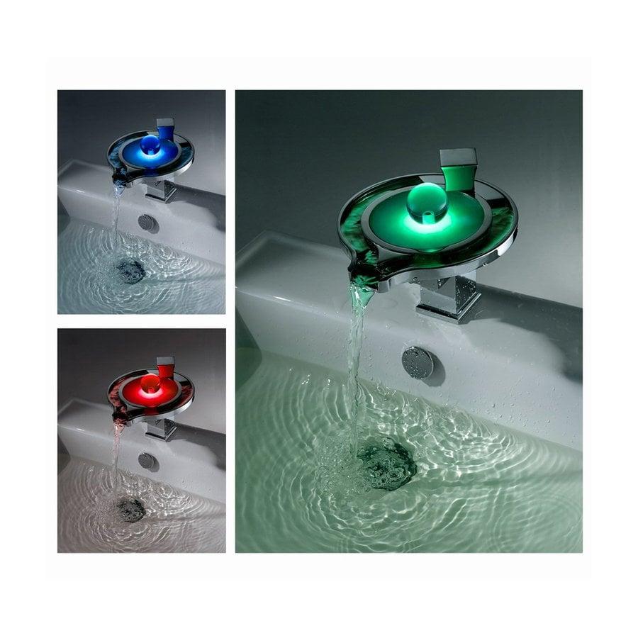Sumerain LED Thermal Chrome 1-Handle Single Hole Bathroom Sink Faucet