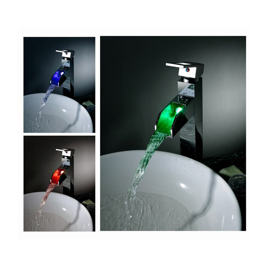 Sumerain LED Thermal Chrome 1-Handle Single Hole Bathroom Sink Faucet