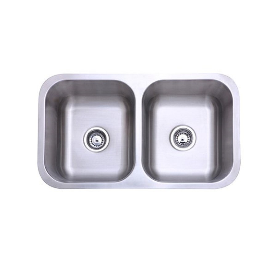 Elements of Design Gourmetier 18.5-in x 31.13-in Brushed Nickel Double-Basin Stainless Steel Undermount Residential Kitchen Sink