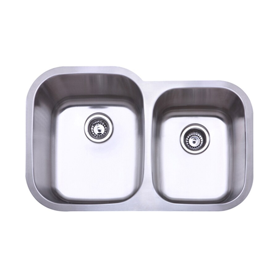 Elements of Design Gourmetier 31.5-in x 20.5-in Brushed Nickel Double-Basin Stainless Steel Undermount Residential Kitchen Sink