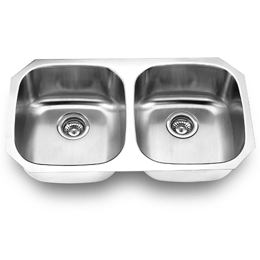 Yosemite Home Decor 32.25-in x 18-in Satin Stainless-Steel Double-Basin Stainless Steel Undermount Commercial Kitchen Sink