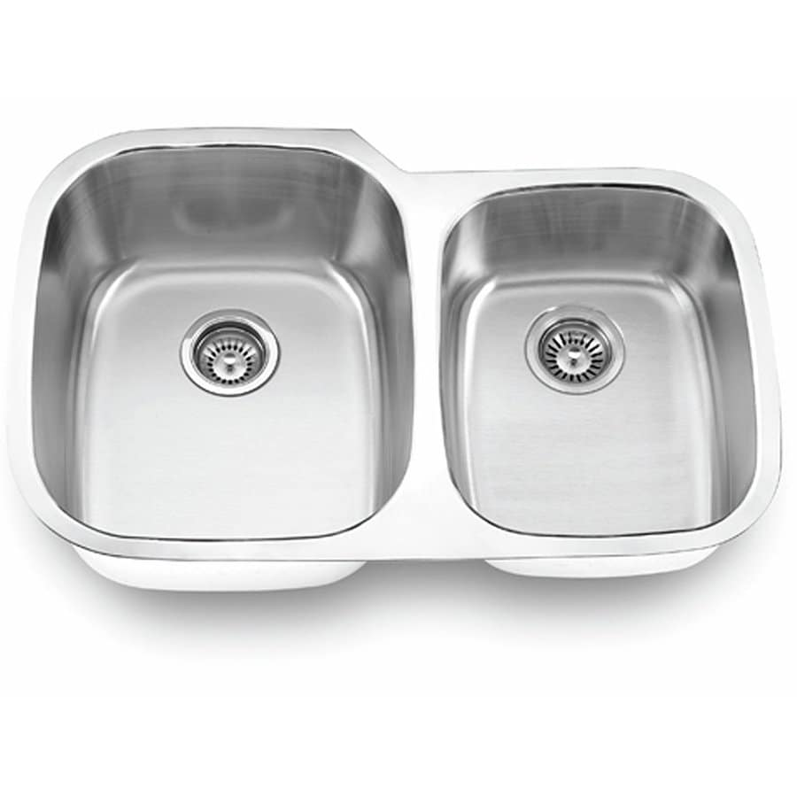 Yosemite Home Decor 32-in x 20.5-in Satin Stainless-Steel Double-Basin Stainless Steel Undermount Commercial Kitchen Sink