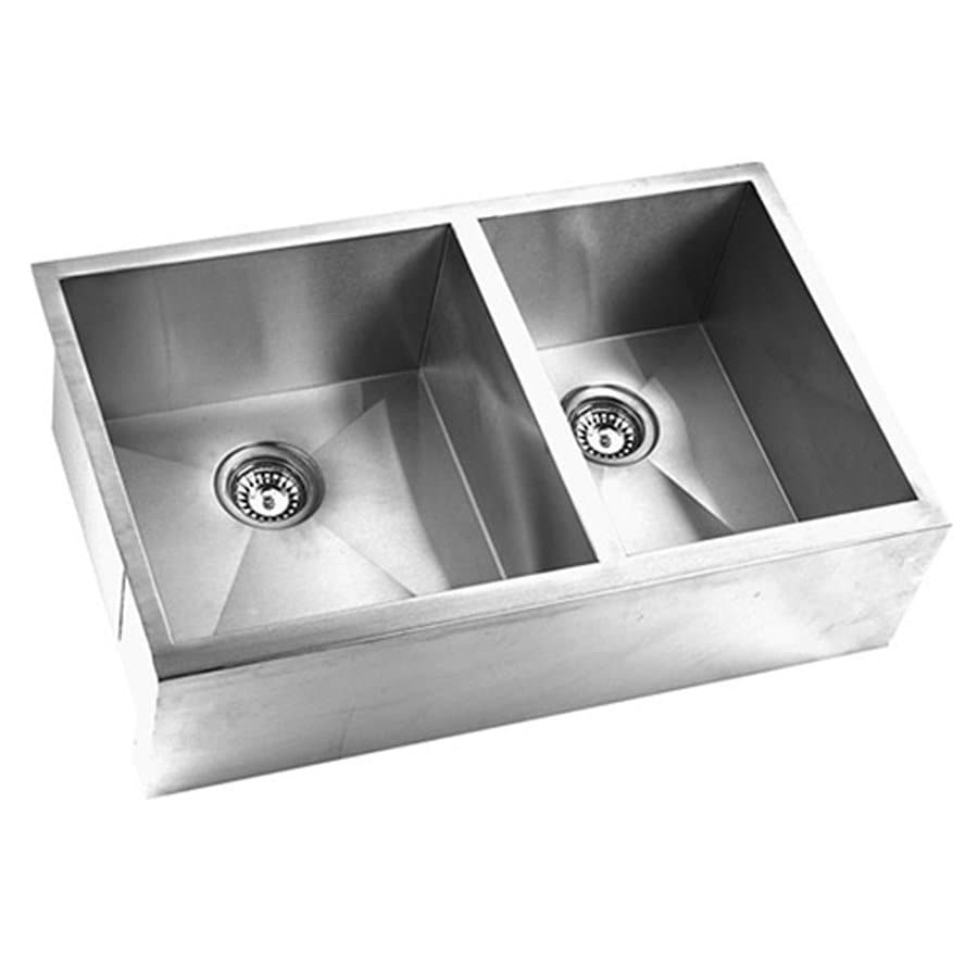 Yosemite Home Decor 33-in x 20.5-in Satin Stainless-Steel Double-Basin Stainless Steel Apron Front/Farmhouse Commercial Kitchen Sink